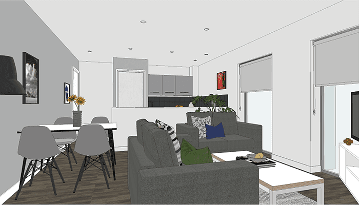 Artist impression of City Gateway's 3 Bed Cluster layout
