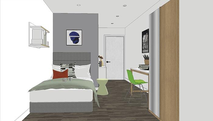 Artist impression of City Gateway Cluster Bedroom