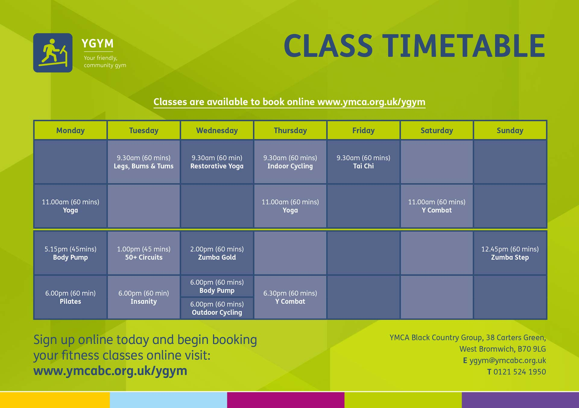 Gym Timetable July 2021