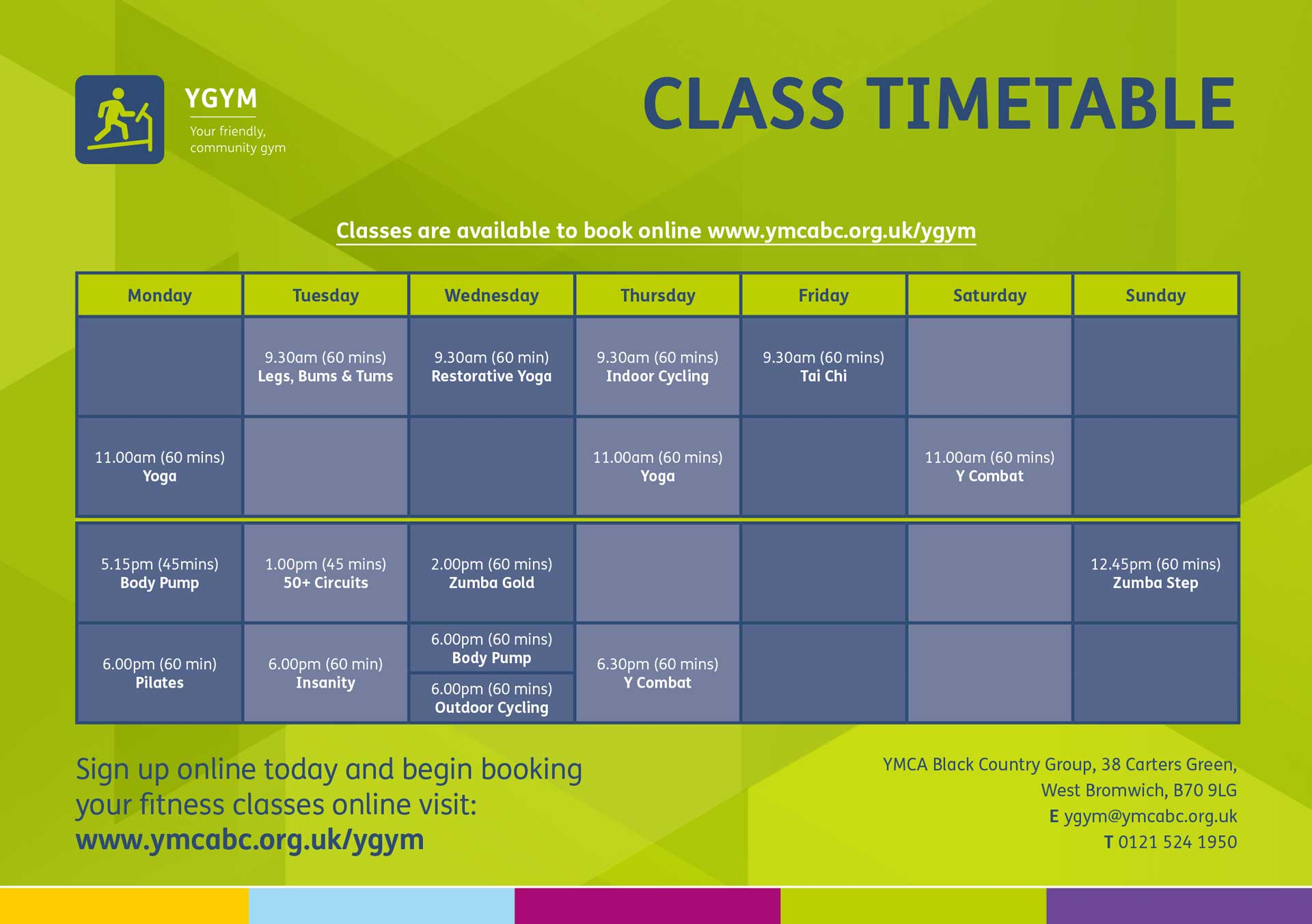 YGym Class Timetable