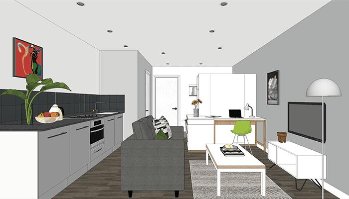 Artist impression of City Gateway Studio Flat layout